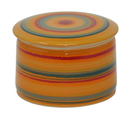 Unbekannt original französische wassergekühlte Keramik butterdose, Immer frische und streichfähige Butter, ca 250gr Butter, bunt orange Z-G