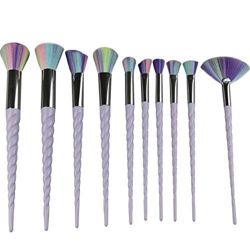 King Love Star Pinceaux de maquillage de licorne 10Pcs/Set Pinceaux à maquillage Set de brosses de maquillage correcteur de la Fondation Set avec Free Puppet d'éponge