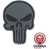 Cobra Tactical Solutions 3D PVC Rubber Morale Punisher Patch Parche Gris con Ojos Rojos Hook&Loop Airsoft