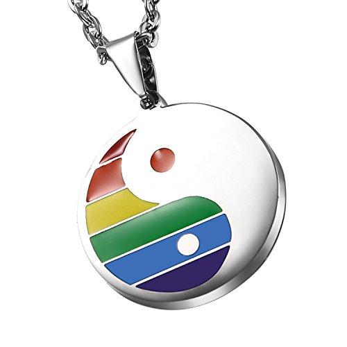 Cupimatch Herren Edelstahl Halskette, Homosexuell LGBT Gay & Lesbian Pride ying yang Anhänger Hochglanz Poliert mit 55cm Kette, silber regenbogen (Regenbogen-halskette)