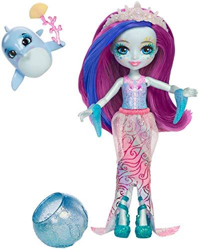 Enchantimals Mini-poupée Dolce Dauphin et Figurine Animale Largo, aux cheveux magiques violet et bleu qui changent de couleur, jouet enfant, FKV55