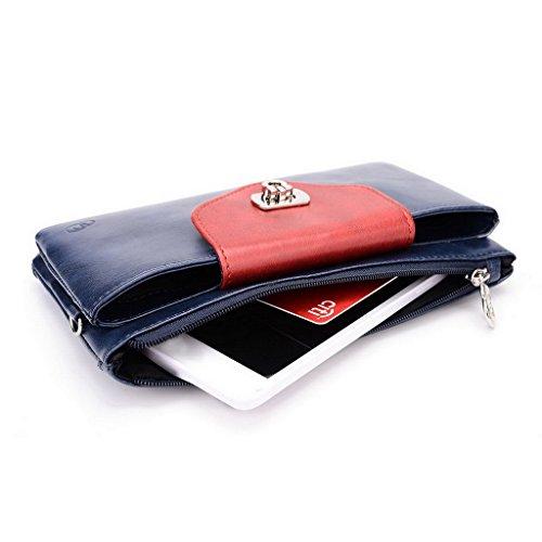 Kroo Pochette Portefeuille en Cuir de Femme avec Bracelet Cuir pour Motorola Nexus 6 Rose - Magenta and Blue Bleu - Blue and Red