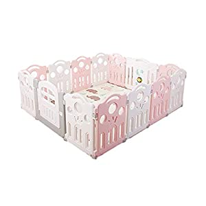 LIUFS-Playpens Children's Toy Fence Security Protection Center Indoor Playground Kindergarten Fence Enclosure Pink and White (Size : 16 pieces)   3