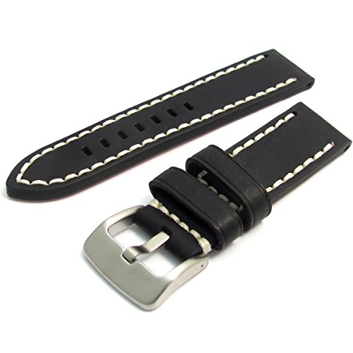 Condor Sattel Leder Uhrenarmband Lederarmband 22 mm Schwarz 319.01