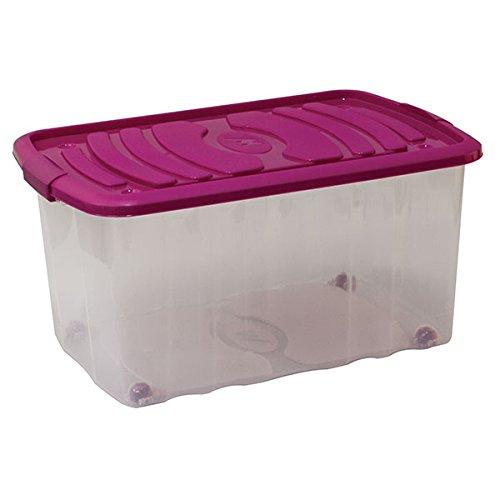 Mondex PLS515-27 Boîte de Rangement avec Couvercle à Roulettes Plastique Violet 59 x 39 x 30 cm 45 L