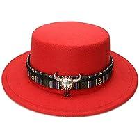 LQ-LIMAO Sombrero de Copa, - Sombrero De Lana De ala Ancha, Cuero Retro De Cabeza De Vaca For Hombre con Sombrero De 56-58 Cm (Color : Rojo, tamaño : 56-58CM)