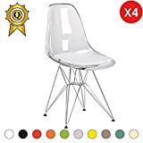 MOBISTYL Promo 4 x Chaise Design Inspiration Eiffel Pieds Acier INOX Chrome Assise Transparent DSR-TC-4