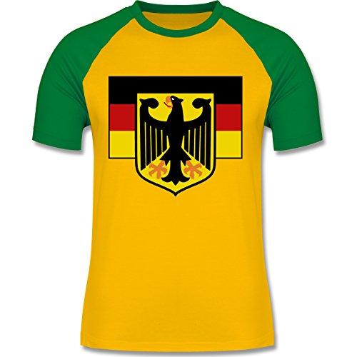 Länder - Deutschland Flagge mit Adler - zweifarbiges Baseballshirt für Männer Gelb/Grün