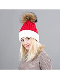HAOLIEQUAN Sombrero De Invierno con Forma De Gorra De Punto para Las  Mujeres Pom Poms Bola b806ae181b8
