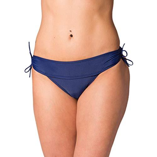 Aquarti Damen Bikinihose Hipster mit seitlichen Schnürchen, Farbe: Dunkelblau, Größe: 38 -