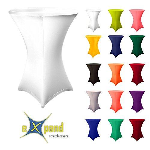Original eXpand® - Hussen, Deko, Stoffe Stehtischhusse - Überzug, Husse, Stretchhusse für Stehtische, Bistrotische – Stretch (Ø 80-86 cm, Weiß)