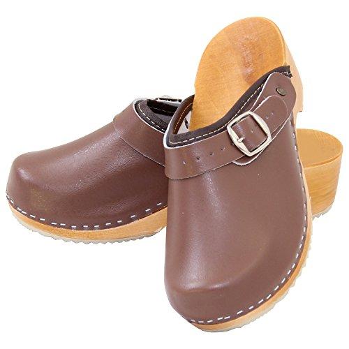 Holzschuhe Clogs Pantoletten Holzclogs Sandalette Orthopädisch Leder Holz Schuhe Gr. 36-41 NEU Braun