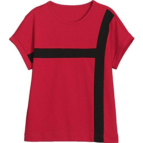 MoMo T-shirt à manches courtes t -shirt à manches courtes en coton épais,rouge,XXL