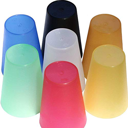 Becher 350 ml mehrweg bruchsicher Mehrfarbig stapelbar Party-Wasser-Trink-Becher Plastik-Mehrweg-Becher ()