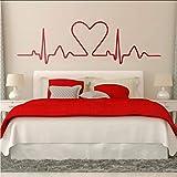(Mhdxmp)Cama Cabecero Etiqueta De La Pared Electrocardiograma Del Corazón Cuyo Gráfico Muestra Un Corazón.Diseño Ideal Para Los Amantes Del Dormitorio Bedhead Decal191 * 57Cm