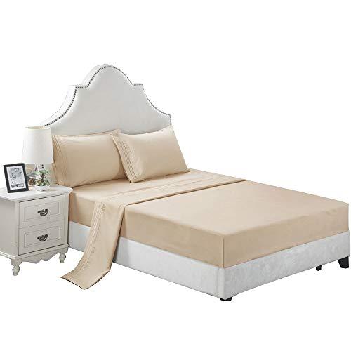 DecoBay 3 Stücke/4 Stücke Weich Bettlaken Serie Reine Farbe Polyester Baumwolle Bettdecke Bett Matte Kissenbezug Set für Schlafzimmer (Beige, KÖNIGIN(Vier Sätze)) (Beige-bett-satz)