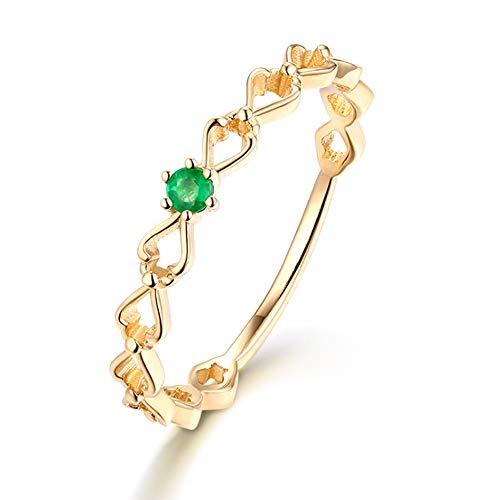 MXMYFF Frauen Ring 14K Love Ring Europa und Amerika Persönlichkeit einfache Smaragd Ringe Schmuck Dame Beste Geburtstagsgeschenk 12# (Smaragd-schmuck Für Frauen)