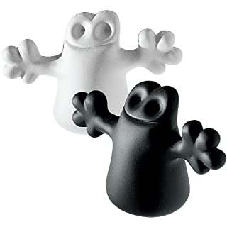 A Di Alessi Carlo A Little Ghost On The Top of A Bottle Stoppers, Set of Two, Black/ White