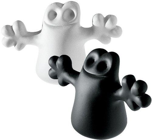 Alessi Carlo, a little ghost on the top of a bottle, Set, bestehend aus Verschlussen aus thermoplastischem Harz, schwarz und weiß