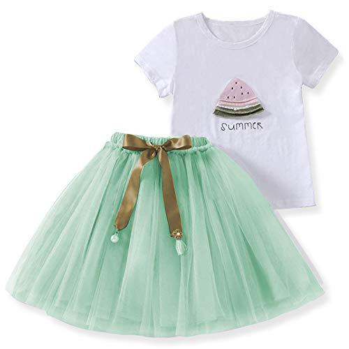 TTYAOVO Baby Mädchen süße Rock Sets, Wassermelone Gedruckt T-Shirt + Bowknot Tutu Rock Größe 2-3 Jahre Grün - Süße Mädchen Röcke
