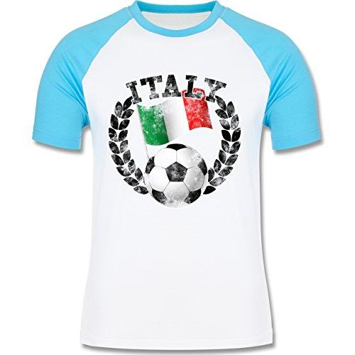 EM 2016 - Frankreich - Italy Flagge & Fußball Vintage - zweifarbiges Baseballshirt für Männer Weiß/Türkis