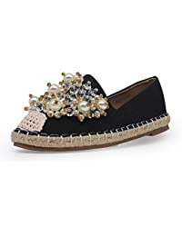 Brooklyn Walk Women Casual Flat Espadrilles Shoes Loafer Round Toe Breathable Linen Rope Woven Pearl Slip-on Shoes