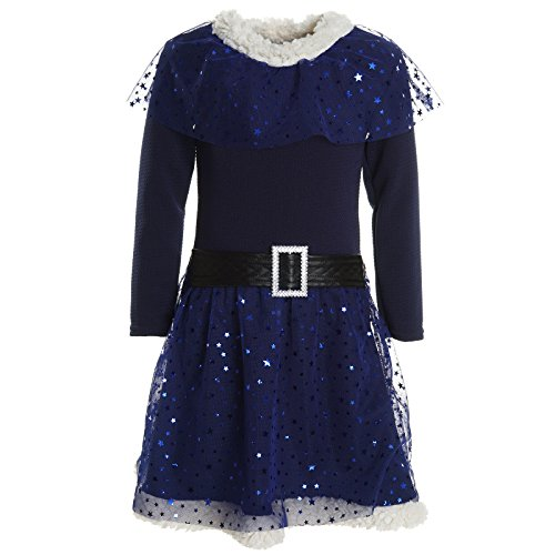 (BEZLIT Mädchen Kinder Spitze Winter Kleid Peticoat Fest Lang Arm Kostüm 20917 Navy Größe 116)