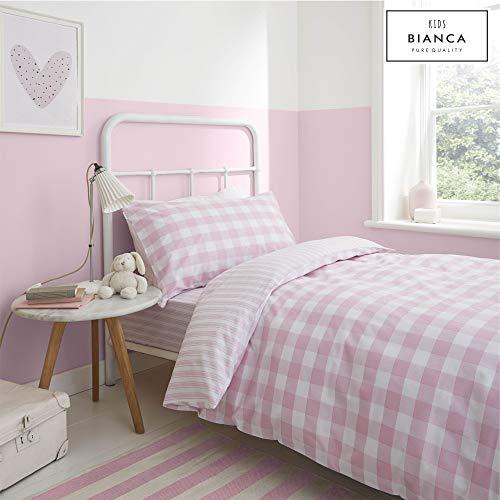 Bianca - Juego de Funda nórdica y Funda de Almohada (algodón), diseño de Cuadros y Rayas, Color Rosa, algodón, Rosa, Juego de Cama Individual