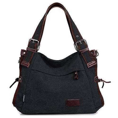 Retro Hobo Style Damen Leinwand Casual Handtasche Schultertasche Lady Messenger Bag Geldbörse Schwarz