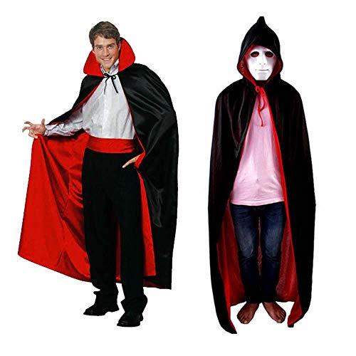Halloween Umhang Erwachsene Männer Frauen Lange Umhang Kostüm Halloween Umhang Teufel Vampir Zauberer Teufel Lange Erwachsene Kinder Cosplay Kostüm Märchen für Weihnachten Party Kostüm (Teufel Märchen Kostüm Für Erwachsene)