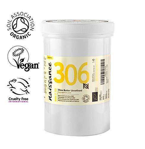 Naissance Manteca de Karité BIO n. º 306 – 500g – Pura, natural, certificada ecológicamente, sin refinar, elaborada de forma artesanal y vegana – Obtenida de forma ética y sostenible en Ghana
