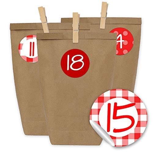Image of Papierdrachen 24 Adventskalender Tüten mit 24 Aufkleber Zahlen und Klammern - zum selber Basteln - DIY Set Adventskalender zum Befüllen - Design Nr 20