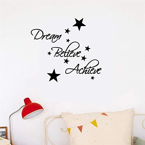 Wandtattoo Kinderzimmer Wandtattoo Wohnzimmer Dream, Believe, Achieve Pack Beinhaltet Silver Star House Dekoration für das Wohnzimmer Schlafzimmer (Silver Star Dekorationen)