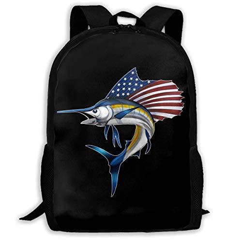 USA Marlin Fish Patriotische American Flag Fashion Travel Rucksäcke Cool Rucksäcke Laptop Rucksack Schultertasche für Damen und Herren (American-flag Fish)