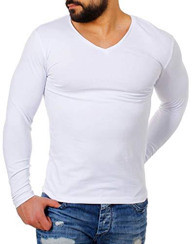 Young & Rich Herren Longsleeve tiefer V-Ausschnitt langarm Shirt einfarbig slimfit mit Stretchanteilen Uni Basic deep V-Neck Tee, Grösse:S;Farbe:Weiß
