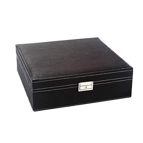 Bbl345dLlo Schmuckkästchen Display Aufbewahrung Box, Zwei Schichten Lint Wooden Jewelry Box Organizer Display Aufbewahrungskoffer mit Schloss Schwarz -