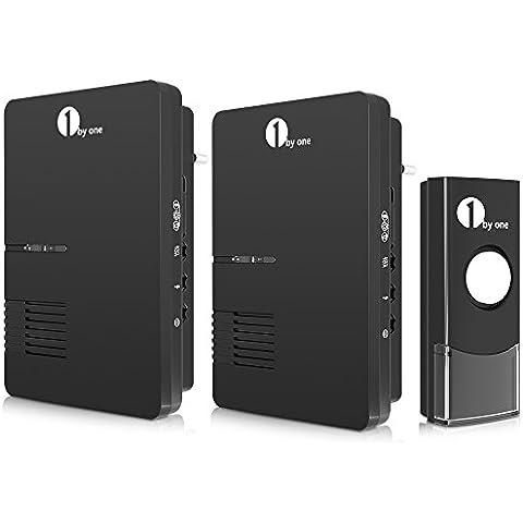 1byone Timbre inalámbrico portátil, 2 Plug-in receptor & 1 pulsador con rango de 100 metros, Indicador de LED ,y 36 melodías para elegir, Negro
