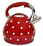 Stunning Red & White Polka Dot Whistling Kettle. Polkadot