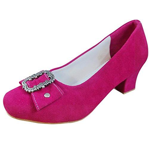 PAULGOS Damen Trachtenschuhe Dirndl Schuhe Trachten Pumps - Echtes Leder - Pink, Schuhgröße:37
