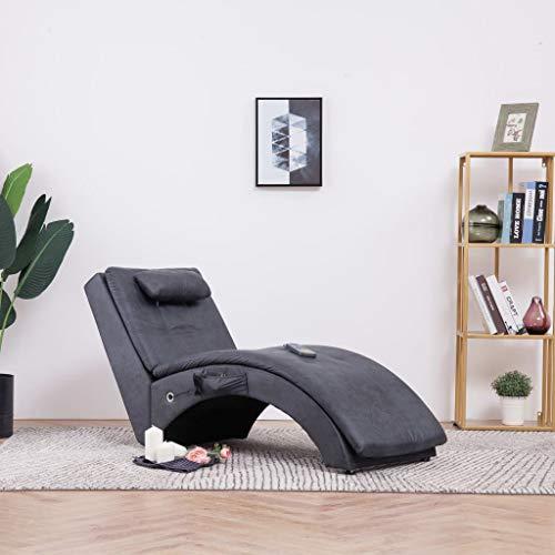 Festnight Massage Relaxliege mit Kissen | Wohnzimmer Liegesessel | Modern Relaxsessel | Liegestuhl | Sofaliege | Polsterliege | Grau Wildleder-Optik und Holzrahmen mit Stahlbeine 145 x 54 x 72 cm
