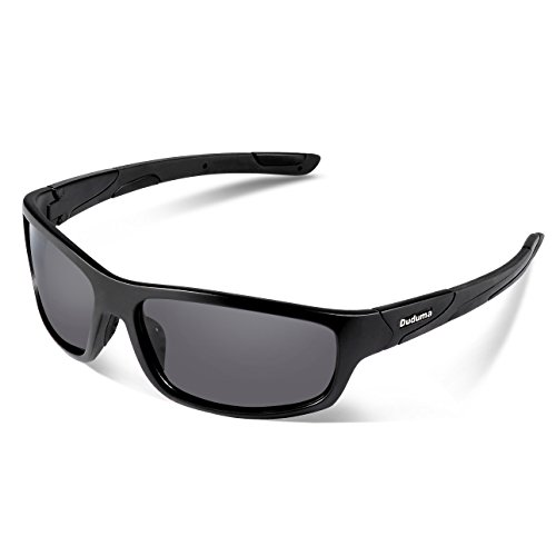 Duduma Polarisierter Sport Sonnenbrille für Baseball Skifahren Golf Laufen Radsport Angeln Reiten Fahren mit Unzerbrechlich Rahmen Du645 (Schwarz Matt Rahmen mit Schwarz Linse)
