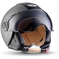 Moto Helmets H44 Vintage Titan · Mofa Roller-Helm Pilot Biker Retro Helmet Vespa-Helm Bobber Cruiser Jet-Helm Vintage Scooter-Helm Moto Helmetsrrad-Helm Chopper · ECE zertifiziert · inkl. Sonnenvisier · inkl. Stofftragetasche · Grau · L (59-60cm)