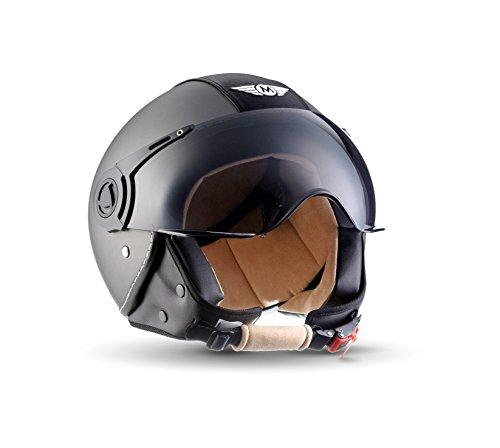 Moto Helmets H44 Vintage Titan · Cruiser Pilot Mofa Scooter-Helm Biker Moto Helmetsrrad-Helm Chopper Bobber Retro Vespa-Helm Vintage Helmet Roller-Helm Jet-Helm · ECE zertifiziert · inkl. Sonnenvisier · inkl. Stofftragetasche · Grau · S (55-56cm)