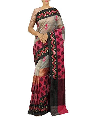 Unnati Silks Women Cream Banarasi Supernet Saree with Blouse from the Weavers...