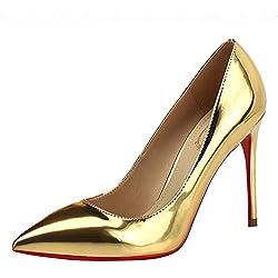 HWAN Frauen gl?nzende Pump Spitz High Heel Hochzeit Schuhe Gold
