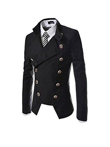 Keral Männer Unregelmäßig Schnitt Runde Zweireiher Kragen Mantel M Schwarz (Mantel Kragen Herren)