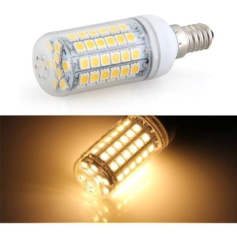 SODIAL(R) Bombilla Lampara Foco Luz Blanco Calido E14 8W 69 LED 5050 SMD AC 220V 3000K
