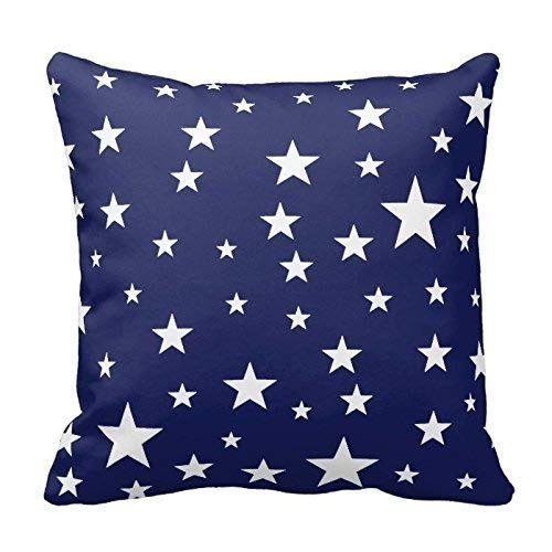 Navy Blue and White Stars Pattern Throw Pillow Cover Decorative Cushion Case Zippered Twin Sides for Couch Sofa Or Bed Set Cozy Home Decor Size:20 X 20 Inches/50cm x 50cm -