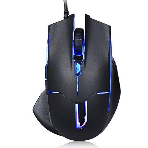 SENDIS Gaming Mouse con Filo, Mouse da Gioco 6 Pulsanti con Tasti Programmabili LED, 250-2500 DPI Regolabile per Windows 10, 8, 7, Vista, XP ecc - Nero