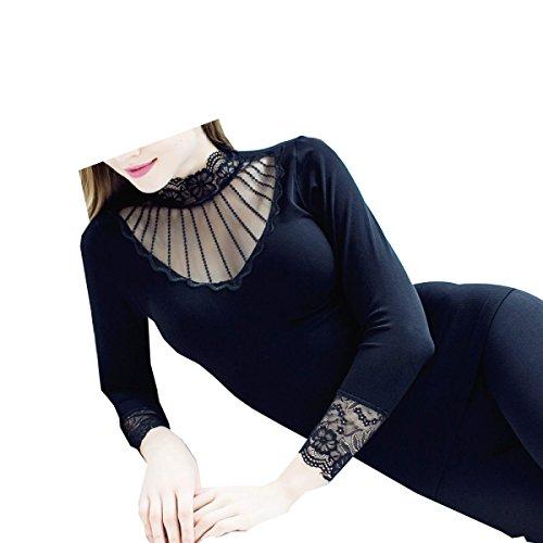 Tang moine Damen- Hochgeschlossen Hohl Spitze V-Ausschnitt Unterwäsche Set,Black | 05281816681460